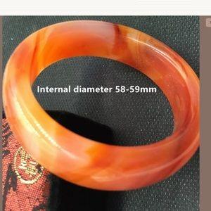 Jewelry - Orange Jade Handmade Carved Bracelet